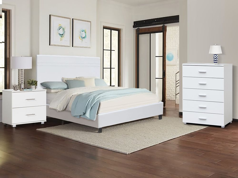 LOGAN Queen Bedroom Furniture Package - WHITE  Furniture packages