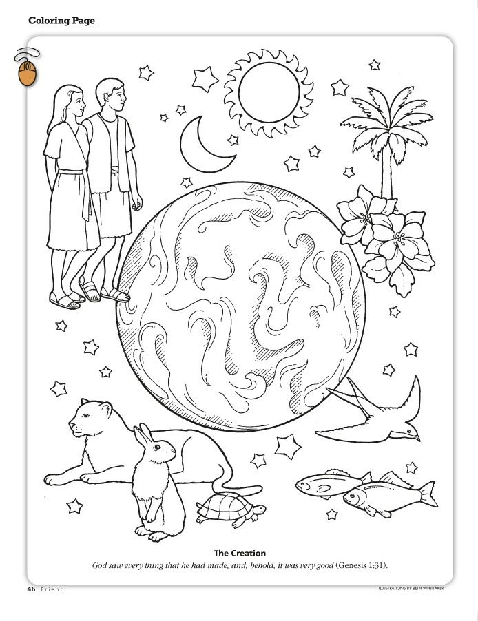 the creation coloring page depicting the earth adam and ...