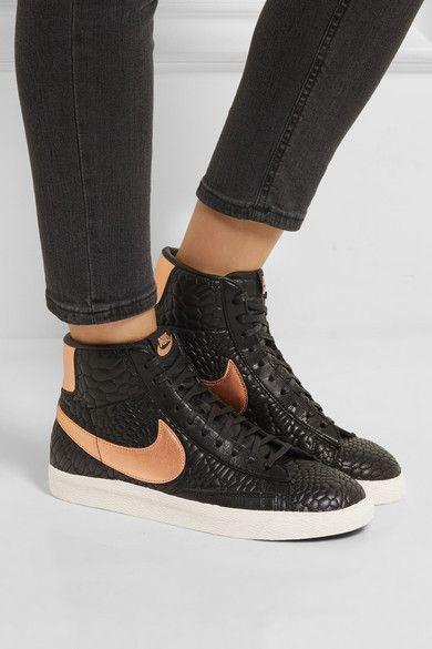 Nike   Baskets montantes en cuir effet croco Blazer   NET-A-PORTER.