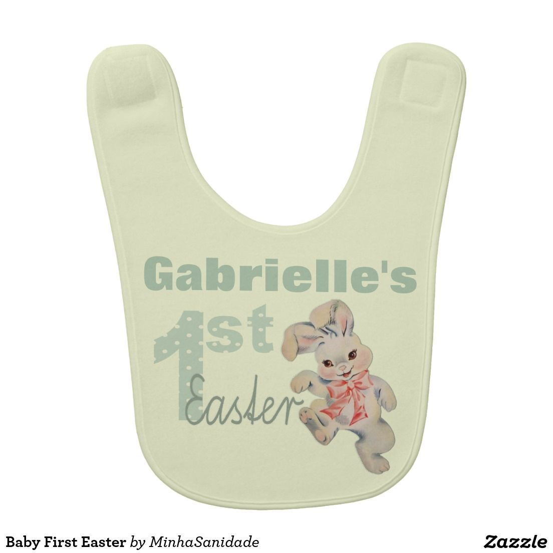 "Super cute baby bib in yellow and green with and faux embroidery vintage bunny rabbit illustration and the message: ""1st Easter"". Customise the bib with your baby's name and she is ready for her first easter. Just too much cuteness together! Suitable for both baby girls or baby boys."