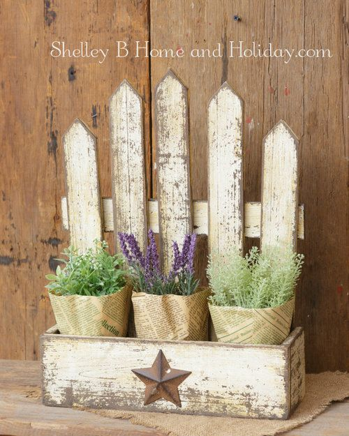 Wooden Flower Box with Picket Fence #woodenflowerboxes