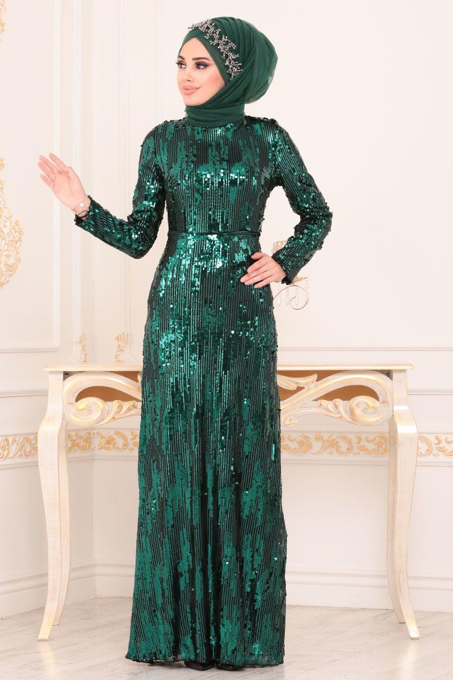 Nayla Collection Pul Payetli Yesil Tesettur Abiye Elbise 9110y Tesetturisland Com The Dress Aksamustu Giysileri Moda Stilleri