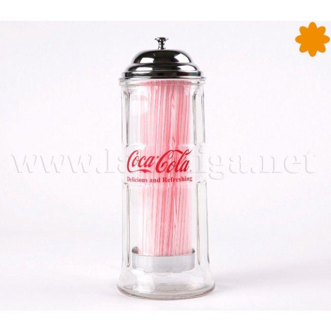 Bote de cristal para pajas #CocaCola