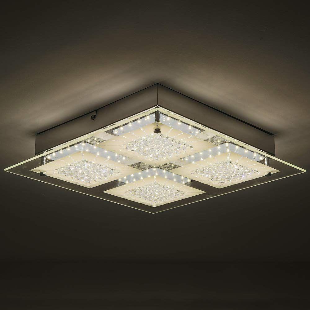 Auffel Ceiling Light Fixture Modern Led Light Source Flush Mount Ceiling Light K9 Crystal Glass Metal Dim Flush Mount Ceiling Lights Ceiling Lights Wall Lights