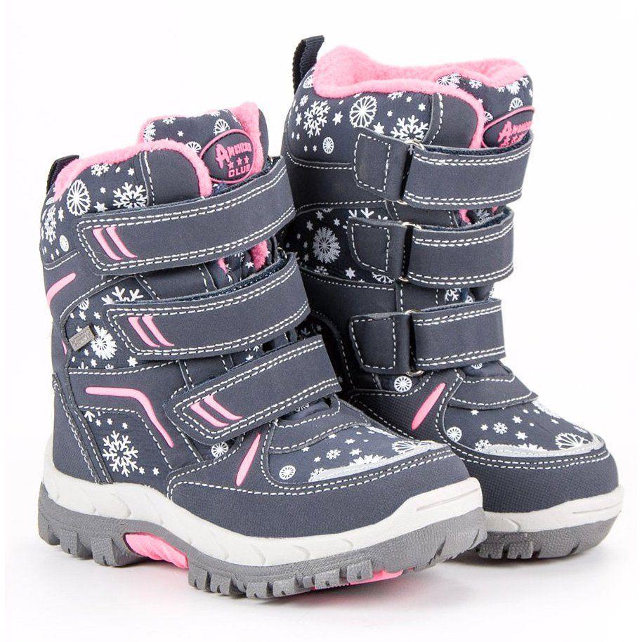 Kozaki Dla Dzieci Americanclub American Club Niebieskie Sniegowce American Boots Winter Boot Shoes