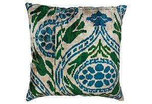 Toluca Ikat 18x18 Pillow, Green