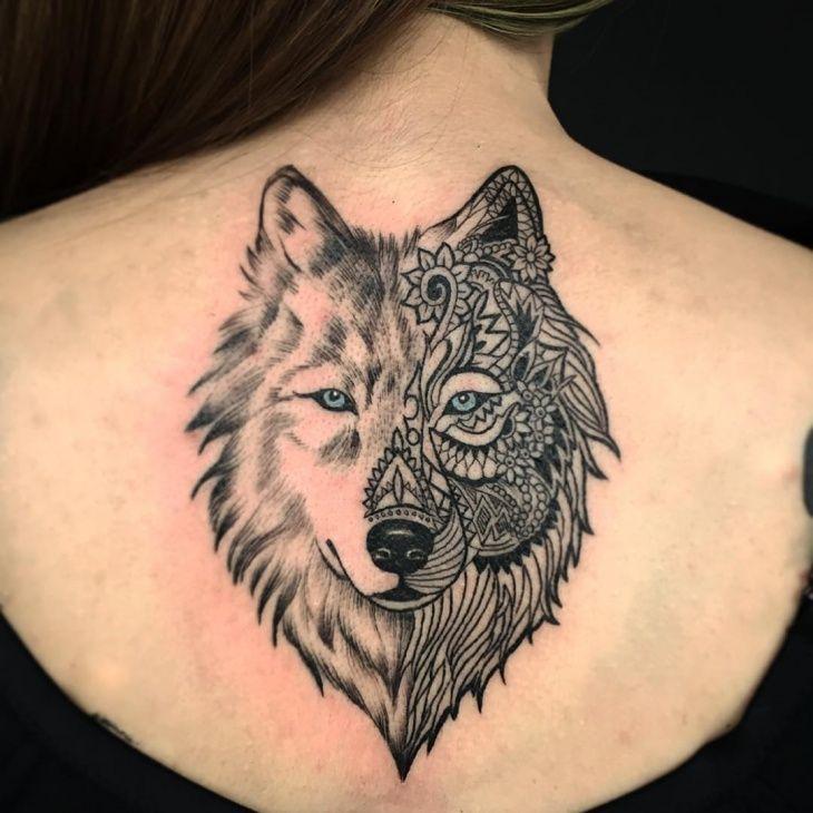 Modern Wolf Tattoo for Girl #wolf, #wolftattoo