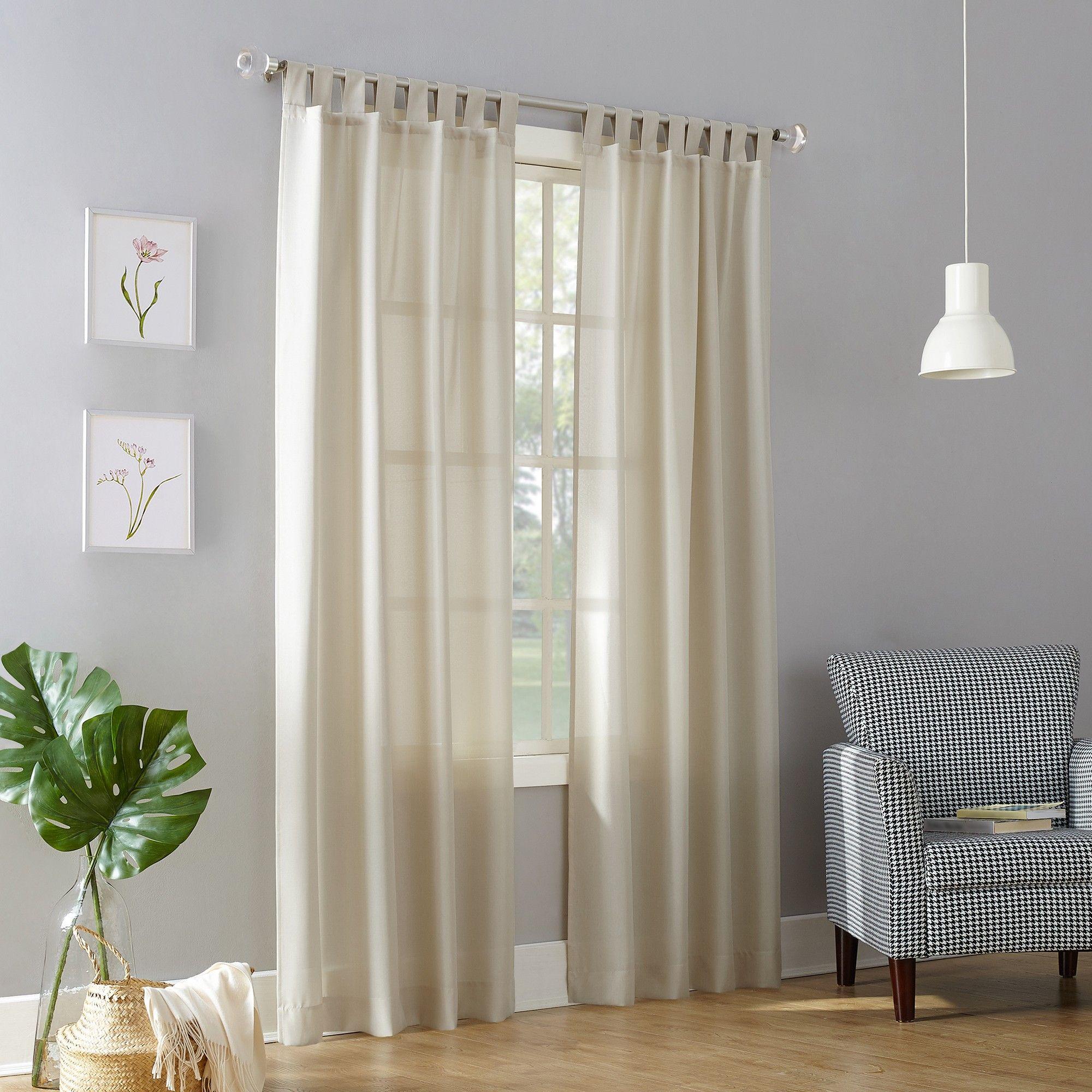 """108""""x40"""" Joshua Casual Textured SemiSheer Tab Top Curtain"""