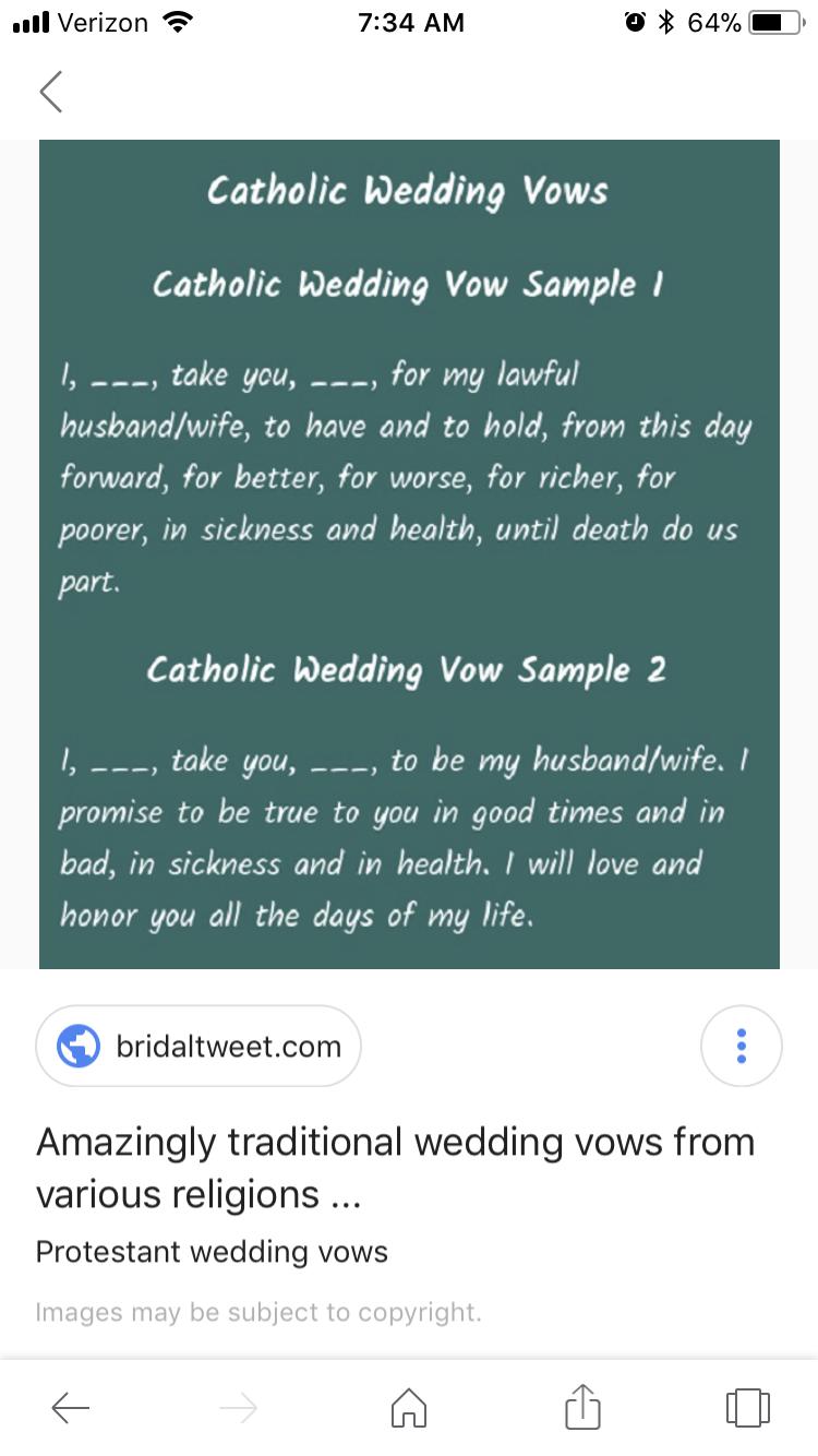Pin By Krystle Moniz On Wedding Idea Wedding Vows Vows Catholic Wedding