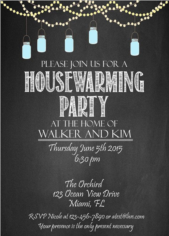 Housewarming party invitation DIY Party by chalkboarddesign - housewarming invitation template