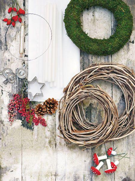 adventskranz selber machen wie binde ich einen kranz deko ideen weihnachten kranz advent. Black Bedroom Furniture Sets. Home Design Ideas