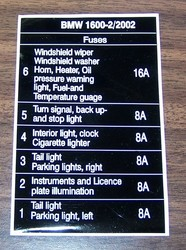Early Fusebox Diagram - 6 Fuse - BMW 2002 and other '02 - BMW 2002 FAQ |  Fuses, Diagram, Stop lightPinterest