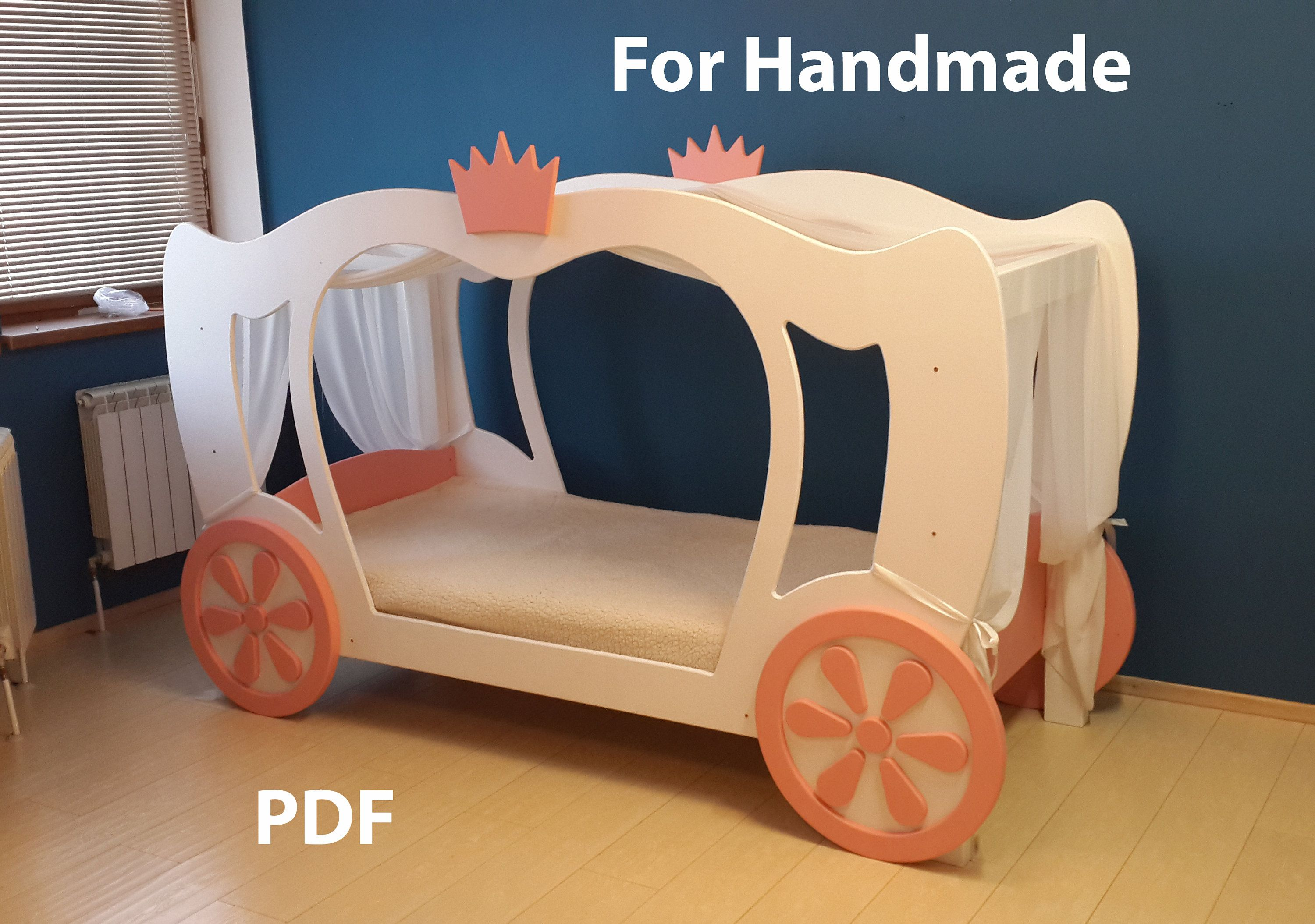 Princess Cinderella Bed PLANS and real size Templates(PDF
