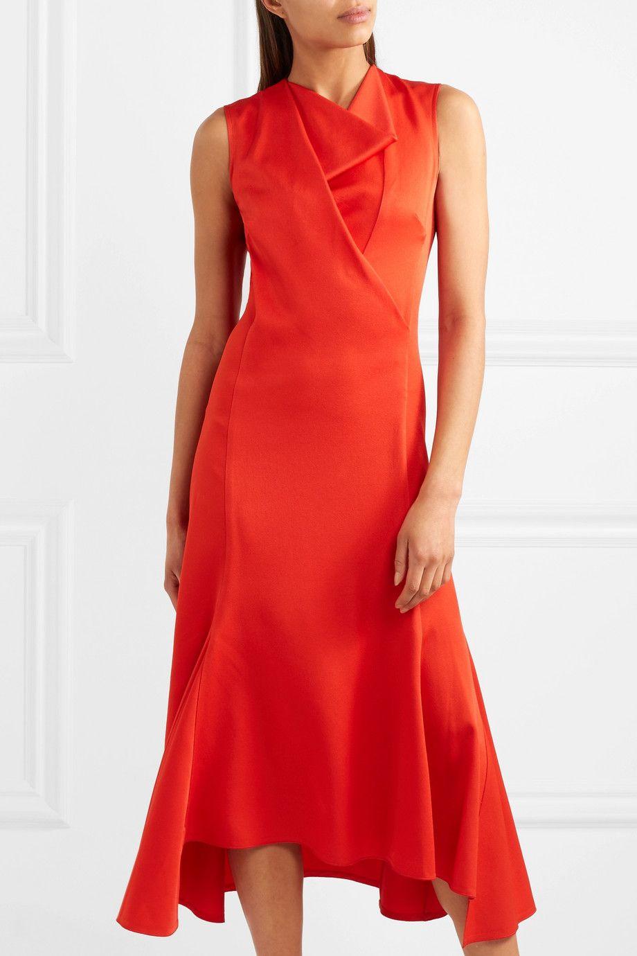 Draped Crepe Midi Dress - Red Victoria Beckham OgwNPi8V