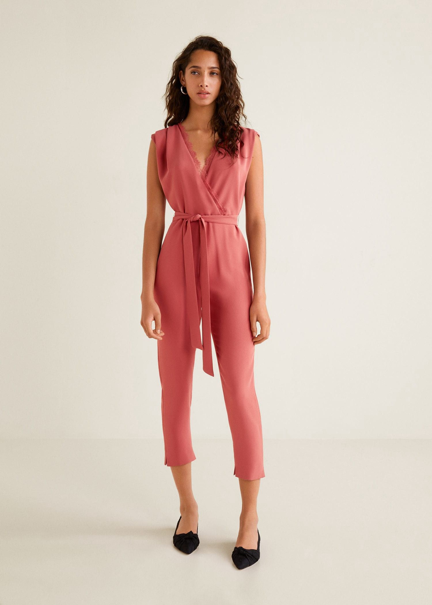 aa99ad21799 Lace v-neckline jumpsuit by Mango in 2019