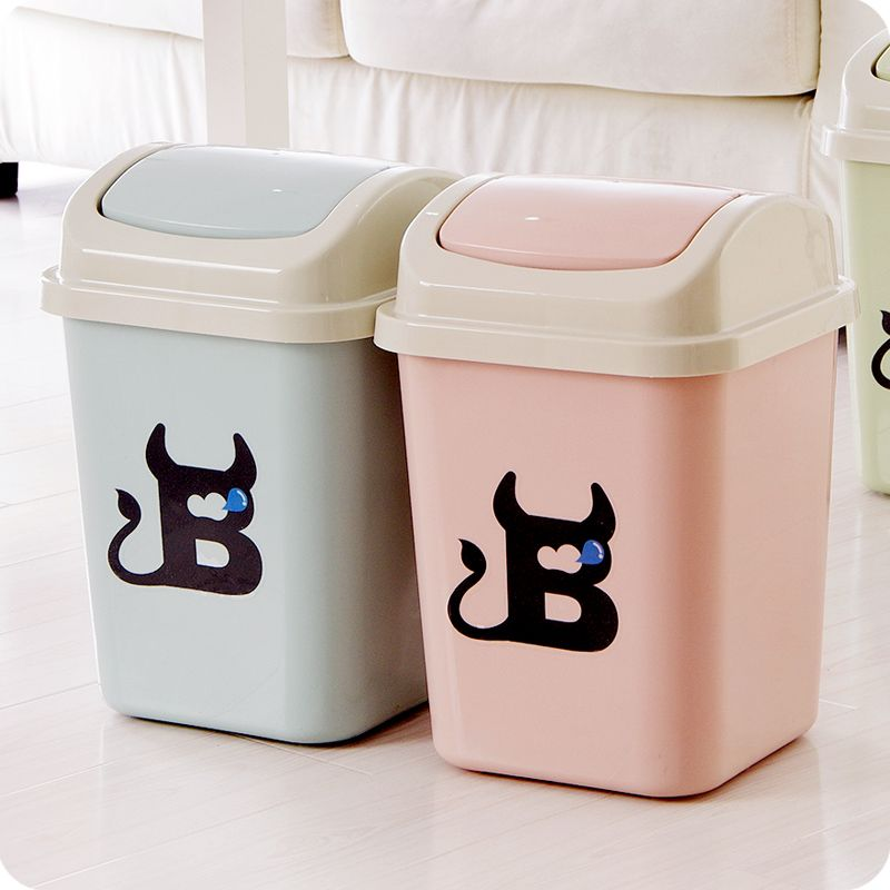 Cute Plastic Trash Cans Rocking Cover Type Kitchen Kitchen Trash