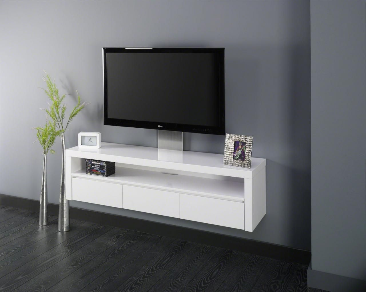 Meubles Tv Meuble Tv Hi Fi Design Suspendu Serena 3 Tiroirs  # Meuble Tv Pivotant Design
