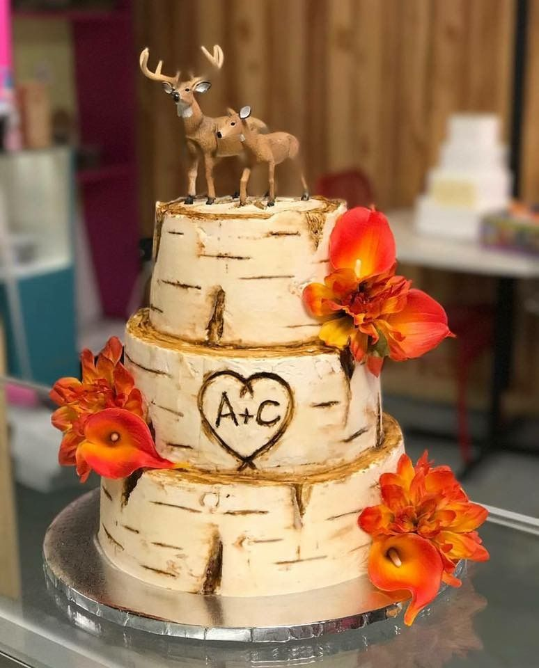 Naked Birch Wedding Cake With Ruffles And Turquoise