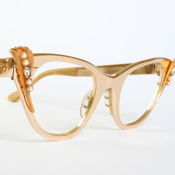 Winged Gold Pearls And Rhinestones Tura Cat Eye Glasses