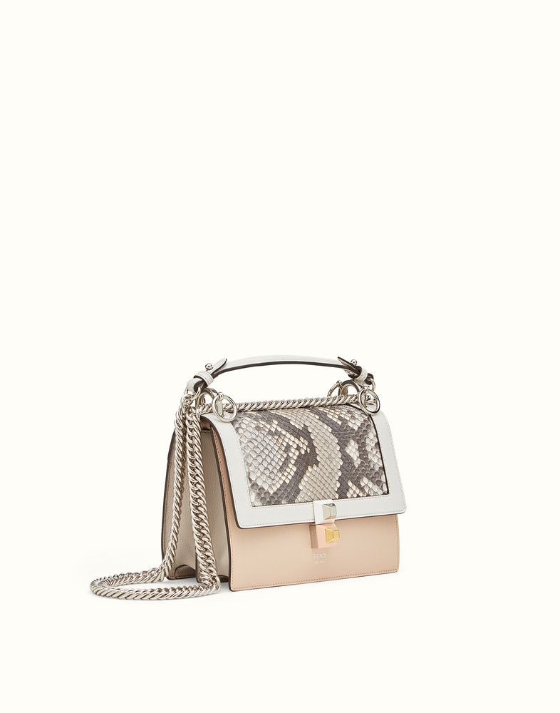 98afd9da24 FENDI KAN I - Mini bag in two-tone leather and python