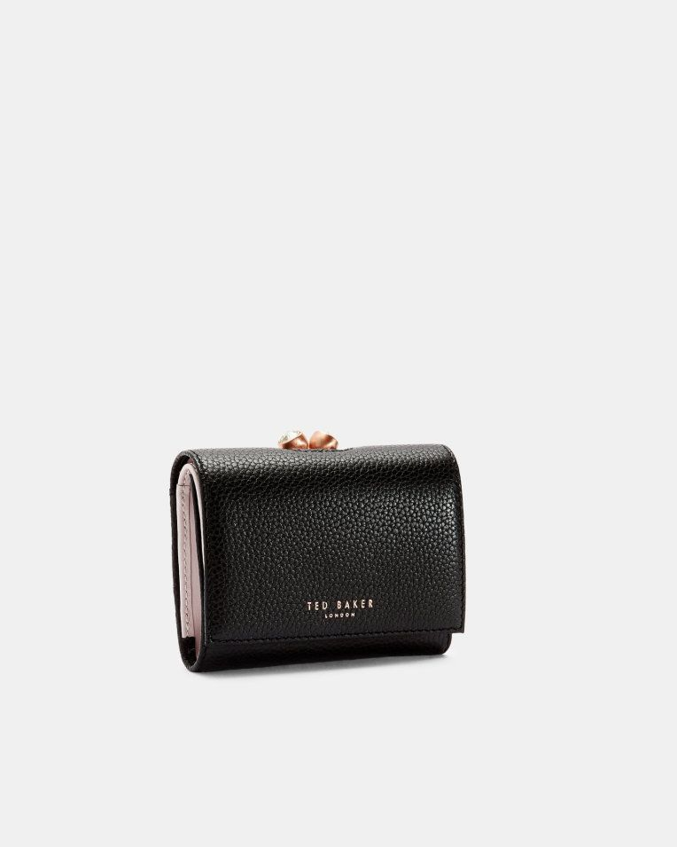 c819d3834c919 Mini-Portemonnaie aus Leder mit Kugelschließe - Schwarz ...