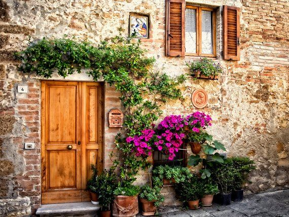 Photo of Tuscan Door, Pienza Italy,  Wooden Door Italy, Rustic Door Print, Tuscany Door Flowers, Door Bench, Fine Art Photo