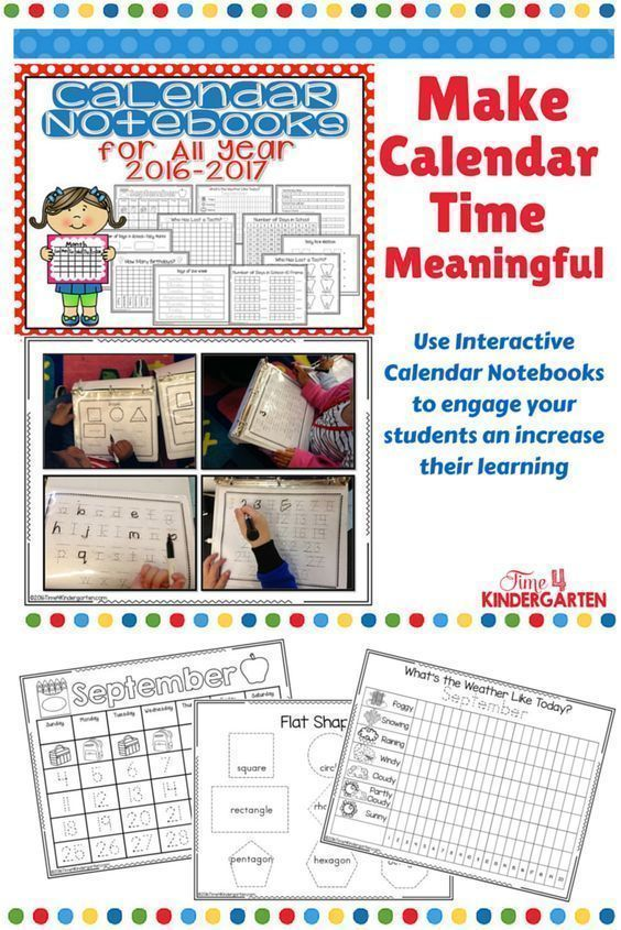 Interactive Calendar Notebooks for All Year 2017-2018 Morning