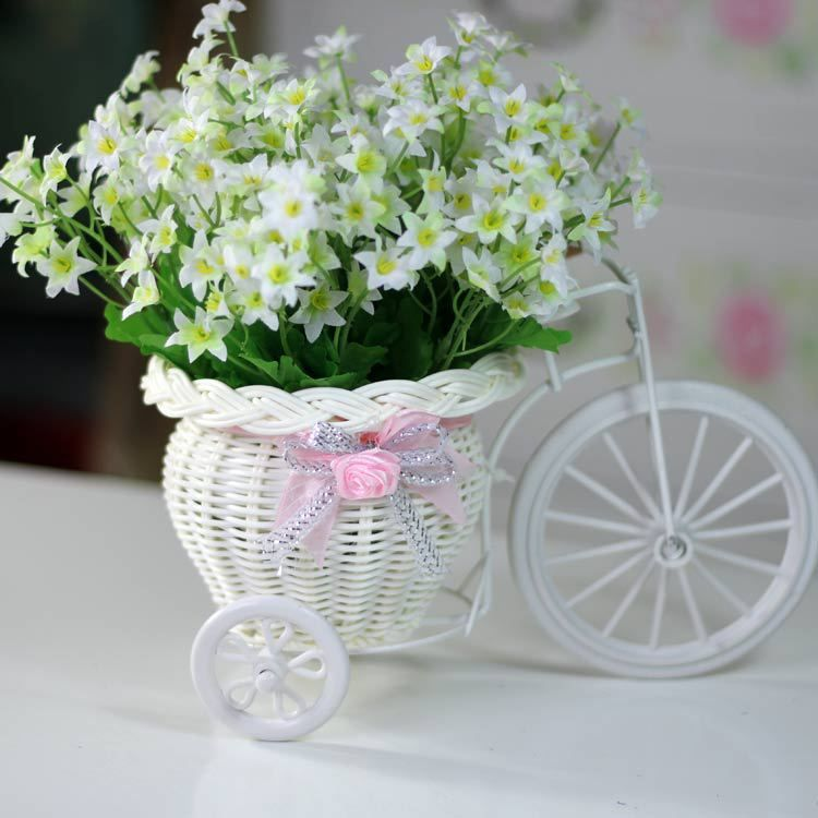 Aliexpress.com : Buy Freeshipping, Bicycle Basket,  Rattan Bandwagon Vase, Artificial Flower Vase Set, stars flower,Table Decoration from Re...