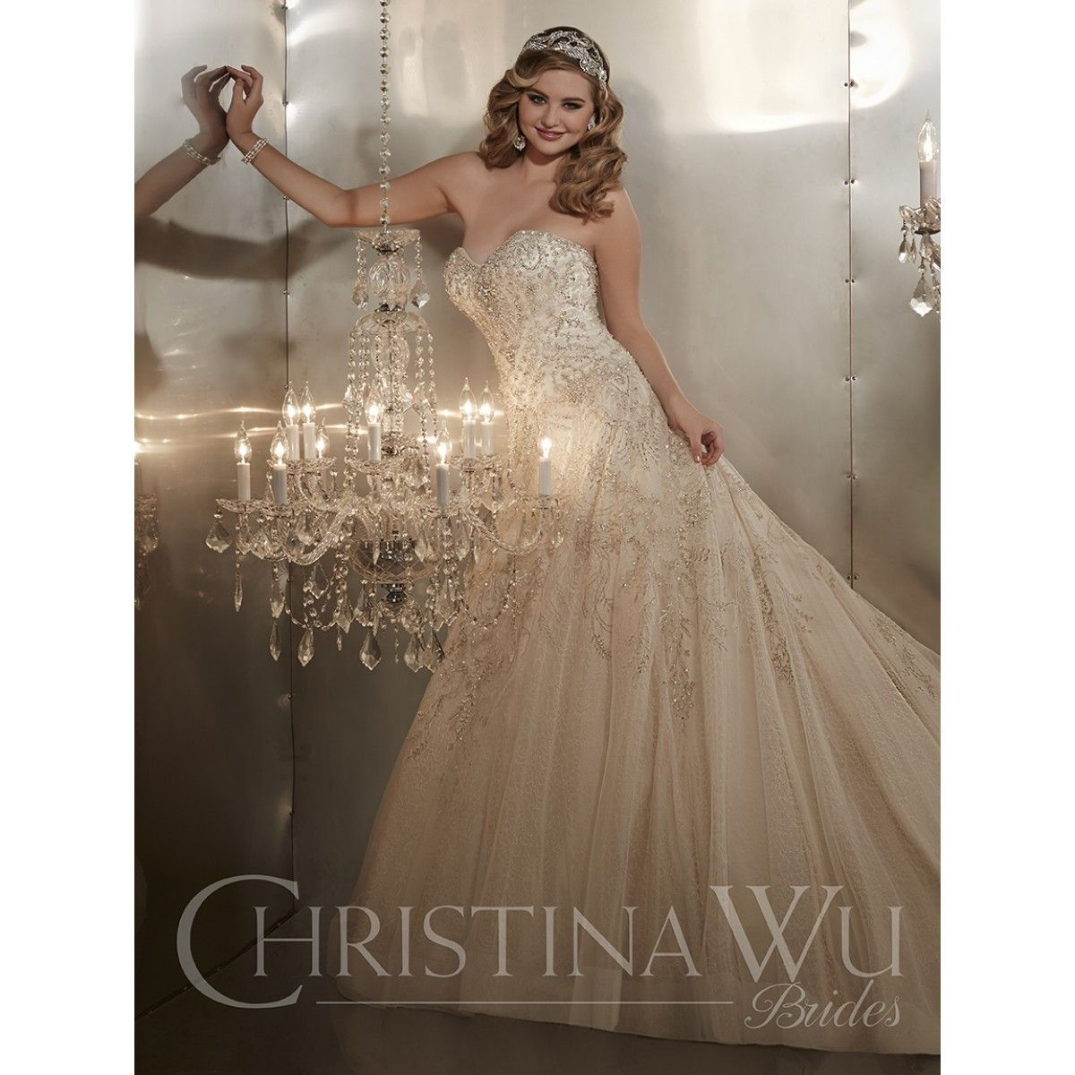 Christina wu wedding dresses  Style   best bridal prices com Embroidered Tulle