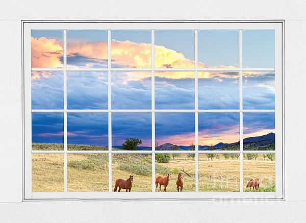 white window frame wall art