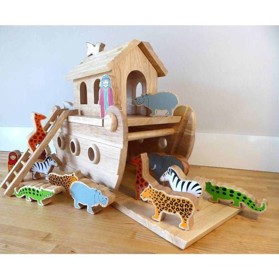 Wooden Noah S Ark With Painted Animals Wood Kids Toys