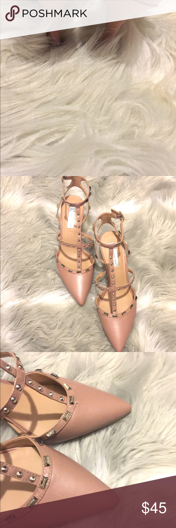 "f1e284ed425 INC Carma pointed toe Kitten Heels Pumps Worn once INC International  Concept studded kitten heels pumps. 2 1 2"" heels. LIKE NEW WITH BOX Shoes  Heels"