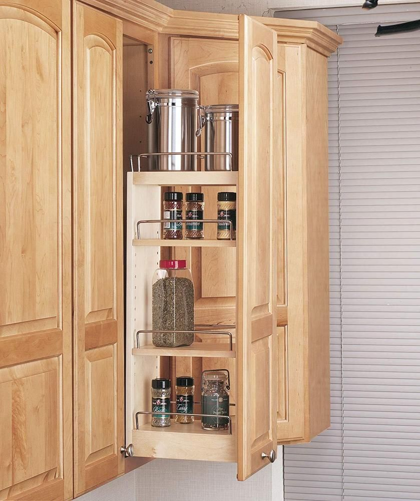 Kitchen Storage Organizer Wooden Pull Out Wall Cabinet Slide System