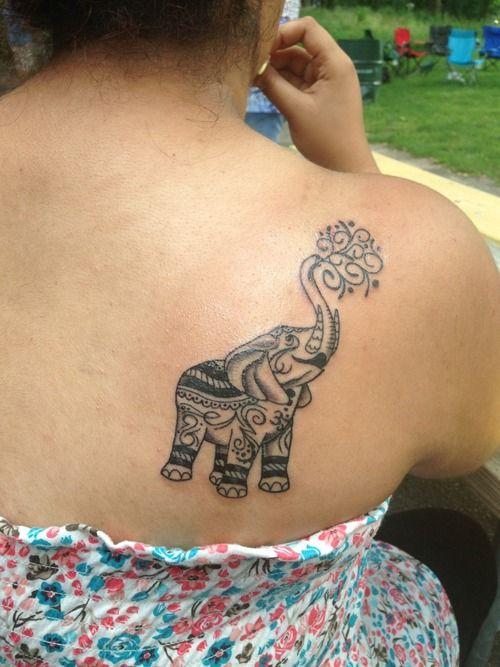 back shoulder elephant tattoo for girls cool tattoos pinterest elephant tattoos tattoo. Black Bedroom Furniture Sets. Home Design Ideas