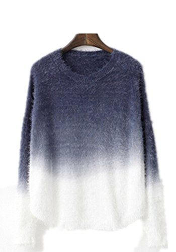 cac3c82cb2abde Friendshop Grey Long Sleeve Loose Ombre Long Sleeve Mohair Sweater Pullover      More info