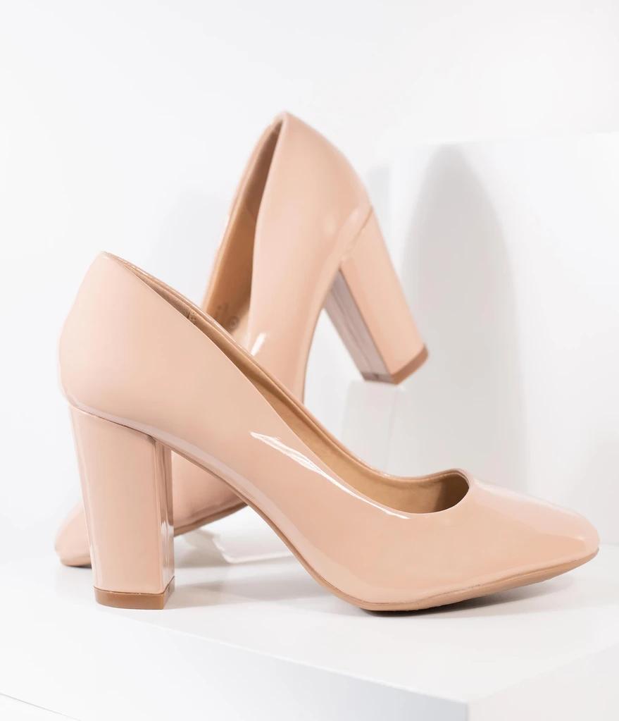 light pink heels closed toe