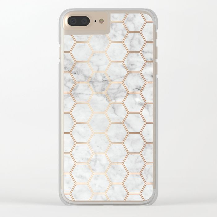 more photos d217a 1ffb8 Honeycomb - Marble Rose Gold #358 Clear iPhone Case by Natural ...