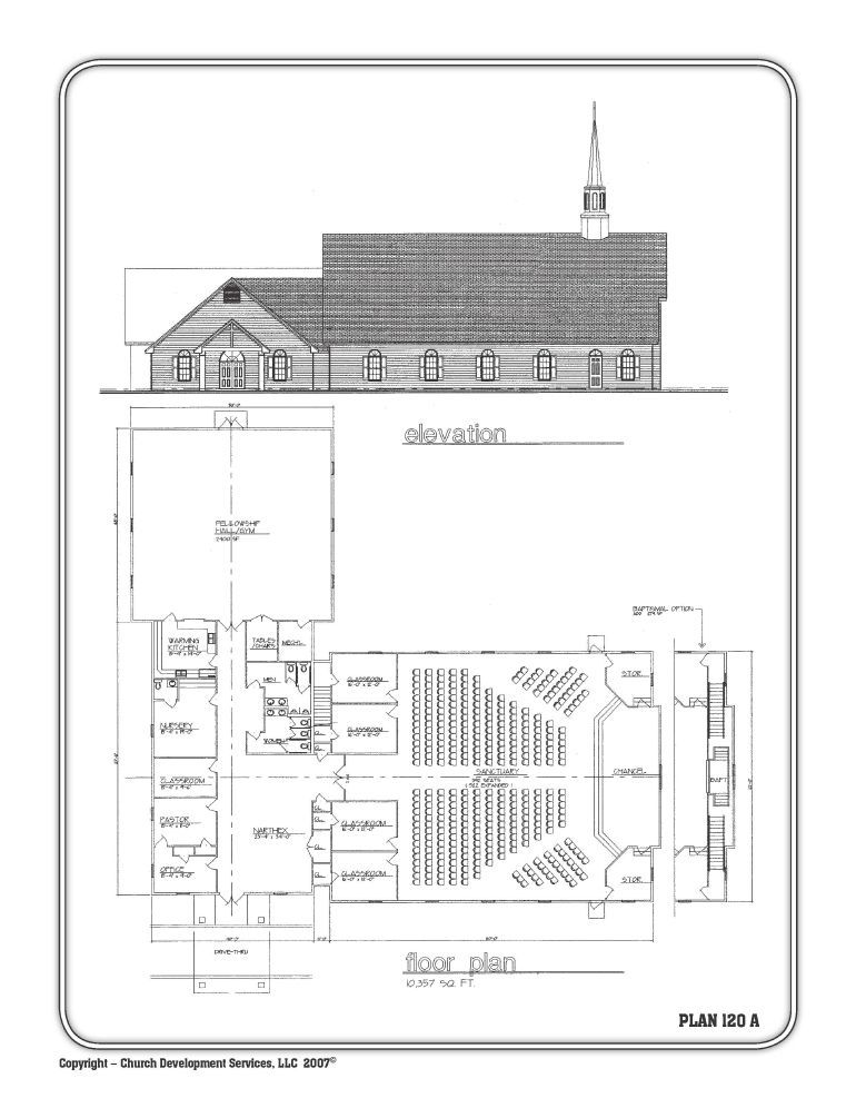 10 000 Sq Feet 5 Clrooms Nursery And Fellowship Hall Church Building Plans
