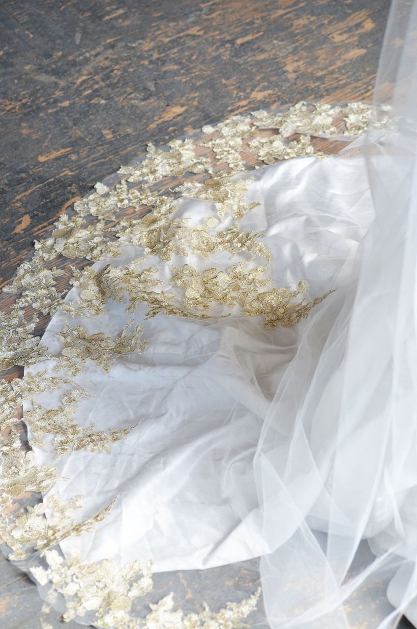Cathedral wedding dress  Gold Metallic Lace EL Elena Designs Cathedral Wedding Veil