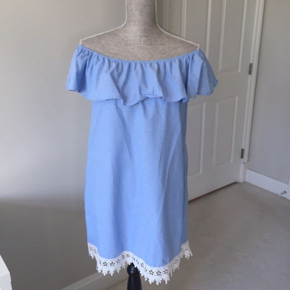 a3fe71c88f ⚡️SALE⚡️Off the shoulder dress with crochet hem Guaranteed to be your go-to  dress this spring/summer! This darling light blue dress features a ruffle  ...