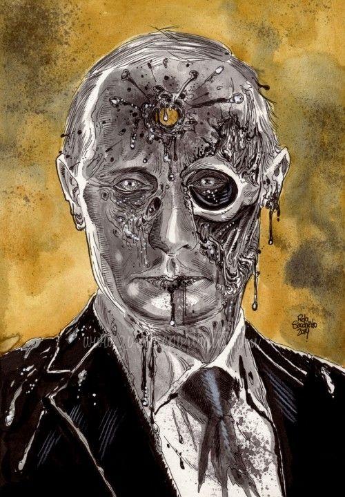 Zombie Celebrity Head Shot Club Vladimir Putin Zombie Style Zombie Art Zombie