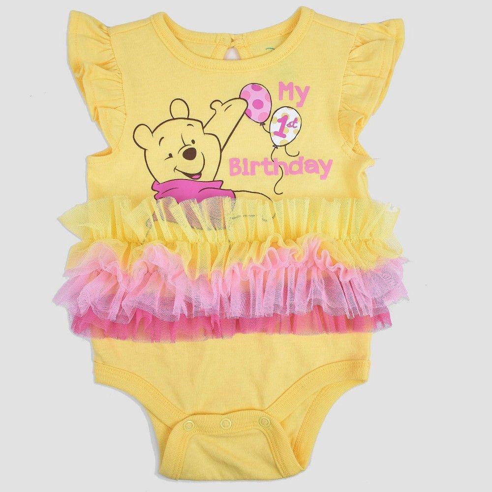 Baby Girls' Winnie the Pooh Birthday Bodysuit Yellow 3