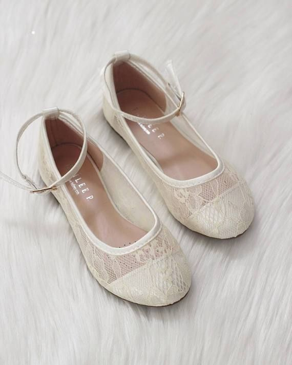 Lace ballet flats, Girls ivory shoes