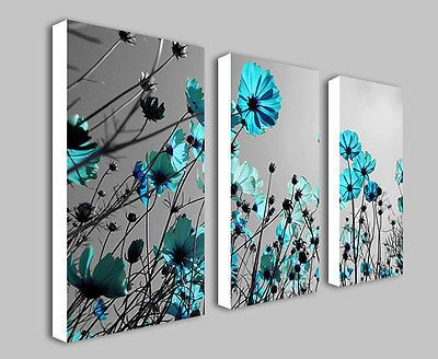Teal Flowers Floral Split Panel Deep Framed Canvas Wall Art Print Picture Part 84