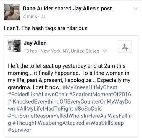 The Hash Tags Are Hilarious Jay Allen I Left The Toilet Seat Up
