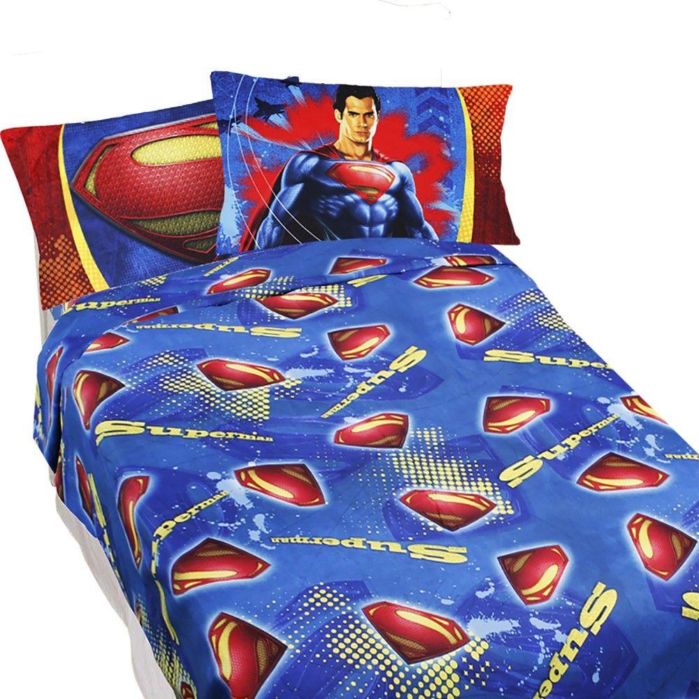 Superman Full Sheet Set 4pc Super Steel Bedding Accessories Dc