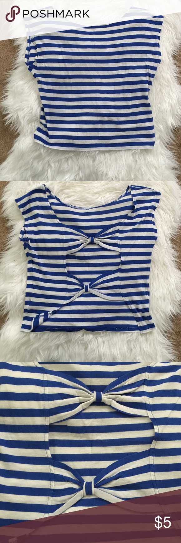 Heritage striped crop top Heritage striped blue and white crop top with open back detail, Size small Heritage 1981 Tops Crop Tops