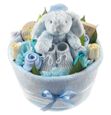 Say It Baby 2 Tier Nappy Cake Bouquet Male Gift Set