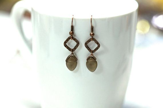 Smokey Quartz Antique Copper earrings  Smoky Quartz  by KParDesign, $29.99. Modern jewelry