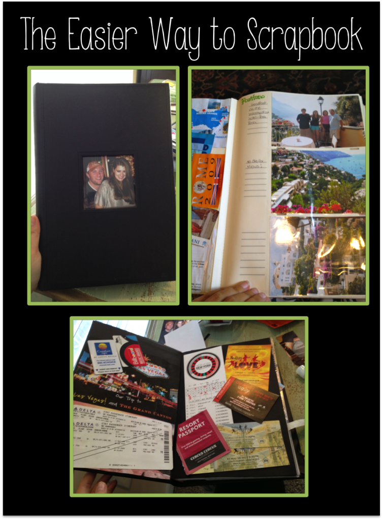 Put together a fun, easy, creative photo album that also has a place for you to make a collage of your mementos!
